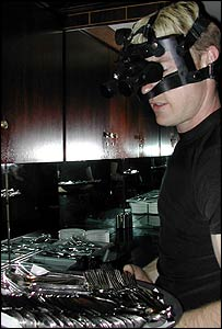 Waiter Michael Jackson wearing night vision goggles
