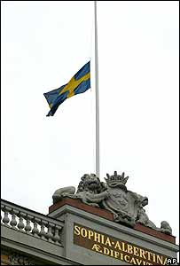 Swedish flag flies at half-mast at the Foreign Affairs Ministry