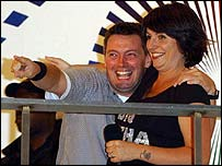 Cameron Stout with Big Brother host Davina McCall