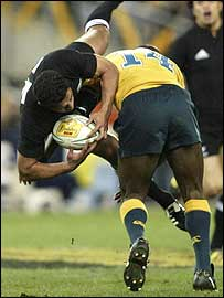 Wendell Sailor was sin-binned after taking out the airborne Mils Muliaina in the first half