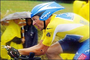 Lance Armstrong is the last rider out