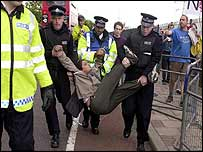 Protester arrested at the arms fair
