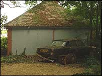 Abandoned car at Tony Martin's farm (picture by Marilyn Rust, BBC Radio Norfolk)