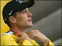 Armstrong tightened his grip on the yellow jersey in Saturday's 19th stage