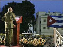 Fidel Castro, presidente de Cuba, en el aniversario del asalto a Moncada.