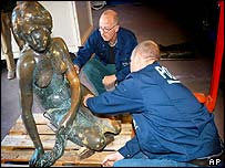 Police examine damage to the Little Mermaid