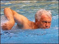 Bobby Robson swims