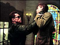 Arnold Schwarzenegger and Nick Stahl in Terminator 3