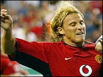 Diego Forlan in action on United's US tour