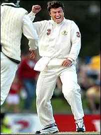 Stuart MacGill celebrates another Bangladesh wicket