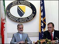 Iranian Foreign Minister Kamal Kharrazi and Bosnian Foreign Minister Mladen Ivanic