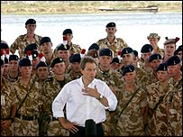 Tony Blair visits UK troops in Iraq