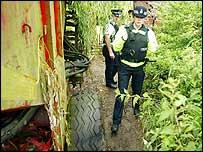 Police at Martin's farm