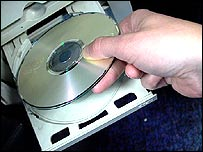 Blank CD into a CD drive
