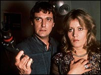 Paul Darrow and Sally Knyvette in Blake's 7