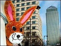 News Bunny outside Live TV headquarters, east London