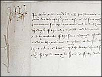 One of the earliest Acts: 'Act of Weights and Measures' signed by Henry VII