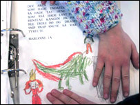 Children's drawing with printout of description