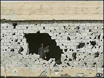 Damaged wall of Jordanian Red Crescent hospital
