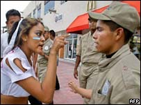 Protester outside Cancun conference