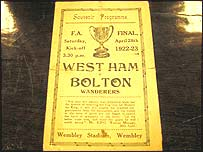 An unofficial programme from the 1923 FA Cup final
