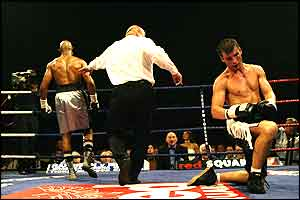 Joe Calzaghe looks forlorn as he is floored by Byron Mitchell, but Calzaghe recovered to win the fight