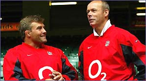 Jason Leonard and Clive Woodward share a joke