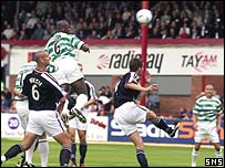Bobo Balde rises highest to score