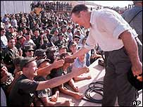 Bob Hope visits US troops in South Vietnam on Dec 25 1964