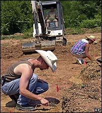 Excavation of mass grave