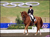 Action from an Olympic dressage competition