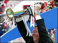 Sir Alex Ferguson with the Premiership trophy
