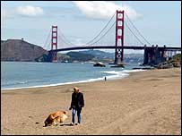 Woman walking a dog near San Francisco's Golden Gate Bridge