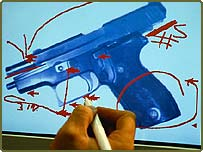 Courtroom exhibit drawing of a gun