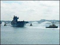 HMS Ocean arrives at Plymouth