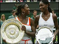 Venus and Serena after Wimbledon final 2003