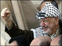 Yasser Arafat addresses supporters in Ramallah on 14 September