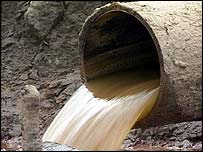 Water gushes from pipe   BBC