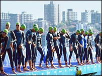 Athletes prepare for the swimming part of the triathlon