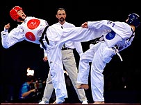 Action from a taekwondo bout