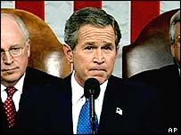 Bush delivers his State of the Union address in January 2003