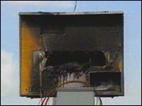 Burned speed camera