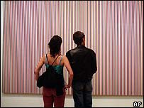 Couple view Bridget Riley's Late Morning