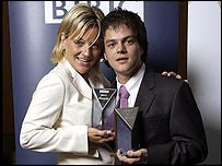 Best vocalist Claire Martin with rising star winner Jamie Cullum