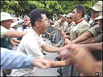 Korean demonstrators in Cancun