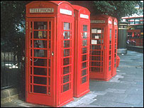 Old fashioned red telephone boxes