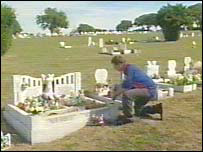 Nicola's uncle at the girls' grave