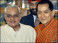 The Bhutanese king with Prime Minister Vajpayee in Delhi