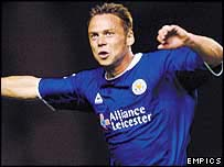 Paul Dickov celebrates after putting Leicester 2-0 ahead