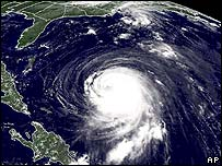 Satellite photograph from US National Weather Service showing Isabel heading towards the US East Coast